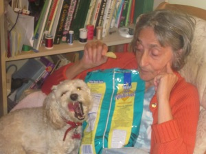 Cricket and Grandma sharing a snack.
