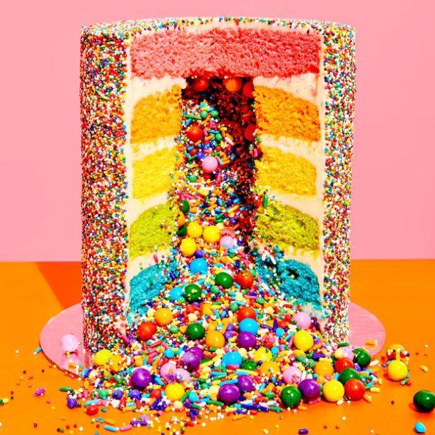 rainbow explosion cake online